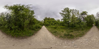 360 degrees panorama of the Recreation and Culture park in Plovd. 380 by 180 degrees spherical panorama of a footpath at the Recreation and Culture park in Royalty Free Stock Images