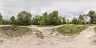 360 degrees panorama of the Recreation and Culture park in Plovd. 380 by 180 degrees spherical panorama of a footpath at the Recreation and Culture park in Stock Image