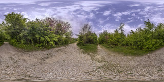 360 degrees panorama of the Recreation and Culture park in Plovd. 380 by 180 degrees spherical panorama of a footpath at the Recreation and Culture park in Royalty Free Stock Image