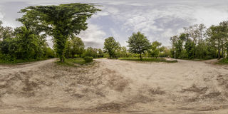 360 degrees panorama of the Recreation and Culture park in Plovd. 380 by 180 degrees spherical panorama of a footpath at the Recreation and Culture park in Royalty Free Stock Photos