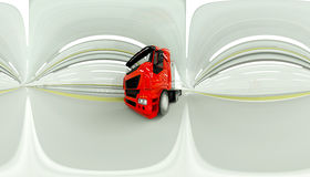 360 degrees panorama. red Gasoline tanker in a tunnel. fast driving. oil concept. 3d rendering. Stock Images