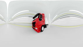 360 degrees panorama. red Gasoline tanker in a tunnel. fast driving. oil concept. 3d rendering. Red Gasoline tanker in a tunnel. fast driving. oil concept. 3d stock video