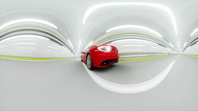 360 degrees panorama. red sport car in a tunnel. fast driving. 3d animation. 360 degrees panorama. red sport car in a tunnel. fast driving. 3d animation stock video