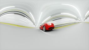 360 degrees panorama. red sport car in a tunnel. fast driving. oil concept. 3d rendering. Royalty Free Stock Photos