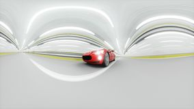 360 degrees panorama. red sport car in a tunnel. fast driving. oil concept. 3d rendering. Red sport car in a tunnel. fast driving. oil concept. 3d rendering Stock Image