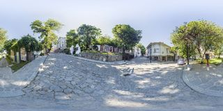 360 degrees panorama of a street in Plovdiv, Bulgaria Stock Photos