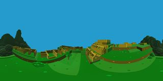 Machu Picchu Isometric 360 Degrees Pixel Art. 360 degrees perspective vision of Machu Picchu royalty free illustration