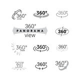 360 degrees rotating virtual reality VR view icon. 360 degrees rotating view icon. Vector line 360 degrees panorama label. VR 3D virtual reality panoramic camera Stock Photo