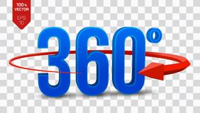360 degrees sign. 3d isometric Angle 360 degrees view icon  on transparent background. Virtual reality. Geometry. Math symbol. Vector illustration Royalty Free Stock Images