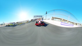 360 degrees, spherical video. Race car. Very fast driving 3d rendering. Stock Photography