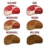 Degrees of Steak Doneness Icons Set. Vector Stock Photos