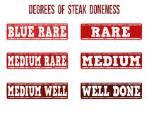 Degrees of steak doneness stamps set Stock Photo