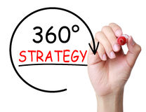 360 Degrees Strategy Concept. Hand with marker drawing 360 Degrees Strategy Concept on transparent board Stock Photos