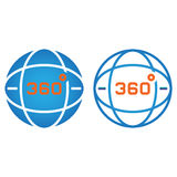 360 degrees view line icon, globe outline and solid vector sign, Stock Images