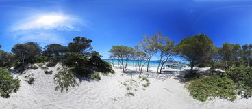 360 degrees view of Maria Pia beach under a shining sun. Alghero, Italy stock image