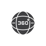 360 degrees view sign, globe icon vector, solid logo illustratio Stock Images