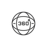 360 degrees view sign, globe line icon, outline vector logo illu Royalty Free Stock Photo