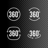 360 degrees view sign icon design isolated. Vector symbol of rotation virtual 3d.  Stock Image