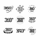 360 degrees view sign. Icons set illustration Stock Photo