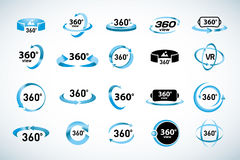 360 Degrees View Vector Icons set. Virtual reality icons. Isolated  illustrations. Blue Color version. 360 Degrees View Vector Icons set. Virtual reality icons Stock Photography