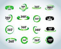 360 Degrees View Vector Icons set. Virtual reality icons. Isolated  illustrations. 360 Degrees View Vector Icons set. Virtual reality icons. Green, black and Royalty Free Stock Photos