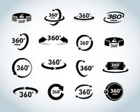 360 Degrees View Vector Icons set. Virtual reality icons. Isolated vector illustrations. Black and white version Stock Image