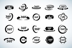 360 Degrees View Vector Icons set. Virtual reality icons. Isolated vector illustrations. Black and white version. Stock Photo