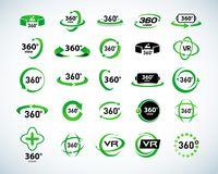 360 Degrees View Vector Icons set. Virtual reality icons. Isolated vector illustrations. Green Color version. 360 Degrees View Vector Icons set. Virtual reality Stock Photography