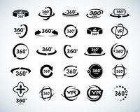 360 Degrees View Vector Icons set. Virtual reality icons. Isolated vector illustrations. Black and white version. 360 Degrees View Vector Icons set. Virtual Stock Photography