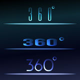 360 Degrees View Vector sign set. Virtual reality hud. Vector illustration Stock Image