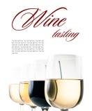 Degustación de vinos, algunos vidrios de vino blanco rojo y Imagen de archivo libre de regalías