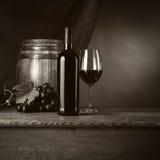 Degustación de vinos en el sótano con el vidrio Imagen de archivo