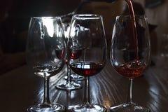 Degustación de vinos en el sótano del productor famoso en Santorini, con el PE Foto de archivo libre de regalías