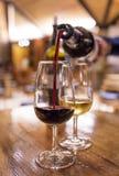 Degustation del vino de Oporto blanco y rojo en sala de degustaciones en Oporto fotos de archivo