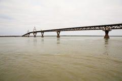 Deh Cho桥梁,堡垒Prvidence, NWT,加拿大 免版税库存照片
