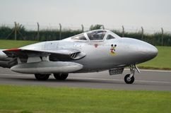 DeHavilland吸血鬼双和单个席位早期的喷气式歼击机航空器 库存照片