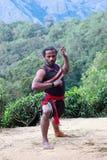 Dehors formation de Kalaripayattu au Kerala, Inde Images libres de droits