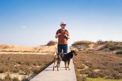 Dehors image de mode de vie d'homme de déplacement avec le chien mignon Concept de tourisme Photo stock