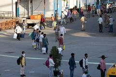 Migrant people at railway station