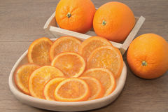 Dehydrated dried and fresh orange Royalty Free Stock Images