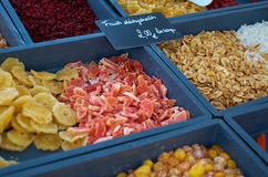 Dehydrated fruits. Being sold at the local market stock photo