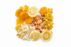 Dehydrated fruits. Orange texture of dehydrated fruits Royalty Free Stock Photography