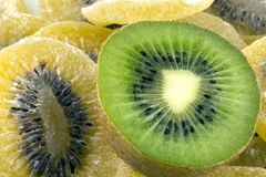Dehydrated kiwis bio. For cake stock photo