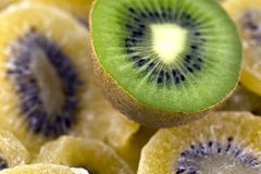 Dehydrated kiwis bio. For cake stock images