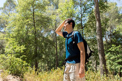 Dehydration. Thirst heat stroke exhaustion concept with man hiker tired stock photography