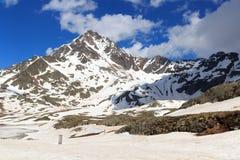 Dei alpino Tre Signori de Corno da montanha e snowfield em Stelvio National Park Fotografia de Stock