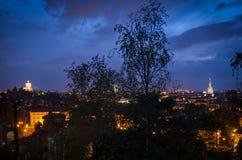 Dei Cappuccini Antonelliana ε Monte τυφλοπόντικων του Τουρίνου στην μπλε ώρα Στοκ εικόνες με δικαίωμα ελεύθερης χρήσης