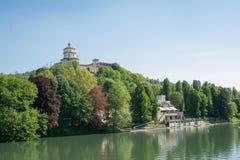 Dei Cappuccini et le fleuve Pô, Turin, Italie de Monte Photos libres de droits