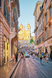 Dei Monti Trinita και αιγυπτιακός οβελίσκος στα ισπανικά βήματα Στοκ Φωτογραφίες
