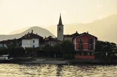 Dei Pescatori, coucher du soleil, lac Maggiore, Italie d'Isola Photos stock